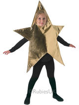 View Item Child Gold Childrens Star Fancy Dress Costume Christmas Xmas Kids