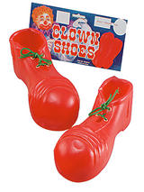 View Item Fun Red Plastic Circus Clown Shoes Kids Fancy Dress Accessory Childs Size Covers