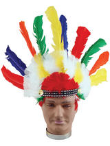 View Item Multi Coloured Adult Indian Headdress Ymca Wild West Fancy Dress Native American