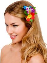 View Item New Multicoloured Hibiscus Flower Hair Clip Fancy Dress Bridal Hawaiian Luau