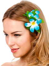 View Item New Sky Blue Hibiscus Flower Hair Clip Fancy Dress Bridal Hawaiian Luau Party