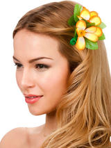 View Item New Orange Hibiscus Flower Hair Clip Fancy Dress Bridal Hawaiian Luau Party