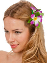View Item New Purple Hibiscus Flower Hair Clip Fancy Dress Bridal Hawaiian Luau Party