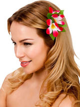 View Item New Hot Pink Hibiscus Flower Hair Clip Fancy Dress Bridal Hawaiian Luau Party