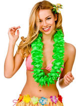 View Item Hawaii Party Green Petal Lei Flower Hula Fancy Dress Garland Necklace 9.5cm