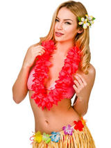 View Item Hawaii Party Coral Pink Petal Lei Flower Hula Fancy Dress Garland Necklace 9.5cm