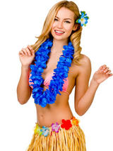 View Item Hawaii Party Blue Petal Lei Flower Hula Fancy Dress Garland Necklace 9.5cm