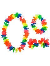 View Item Neon Hawaiian Garland 4 Piece Flower Lei Tropical Party Fancy Dress Accessory