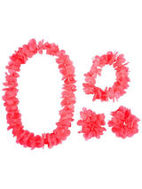 View Item Pink Hawaiian Garland 4 Piece Flower Lei Tropical Party Fancy Dress Accessory