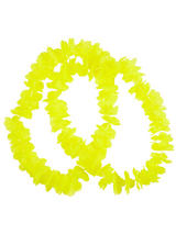 View Item Neon Yellow Hawaiian Garland 2 Piece Flower Lei Tropical Hen Party Fancy Dress