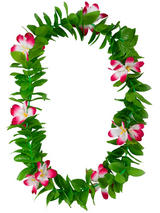 View Item Green Leaf Pink Flowers Hawaiian Garland Lei Tropical Party Fancy Dress Necklace