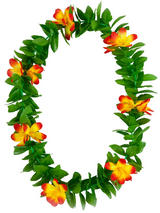 View Item Green Leaf Orange Flowers Hawaiian Garland Lei Tropical Hen Party Fancy Dress