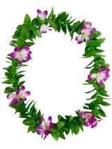 View Item Green Leaf Purple Flowers Hawaiian Garland Lei Tropical Hen Party Fancy Dress