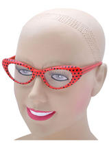View Item Ladies 50s 60s Style Rock N Roll Dame Edna Specs Glasses Polkadot Red Black New