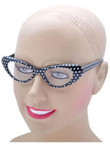 View Item Ladies 50s 60s Style Rock N Roll Dame Edna Specs Glasses Polkadot Black White