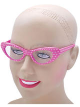 View Item Ladies 50s 60s Style Rock N Roll Dame Edna Specs Glasses Polkadot Pink White New