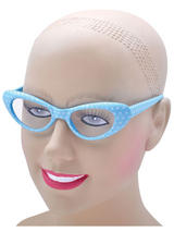 View Item Ladies 50s 60s Style Rock N Roll Dame Edna Specs Glasses Polkadot Blue White New