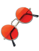 View Item Hippy Hippie 60s 70s John Lennon Round Ozzy Orange Fancy Dress Glasses Specs New