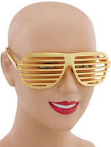 View Item Retro Fun Party Shutter Shades Glasses Novelty Club Aviator Fancy Dress Gold New