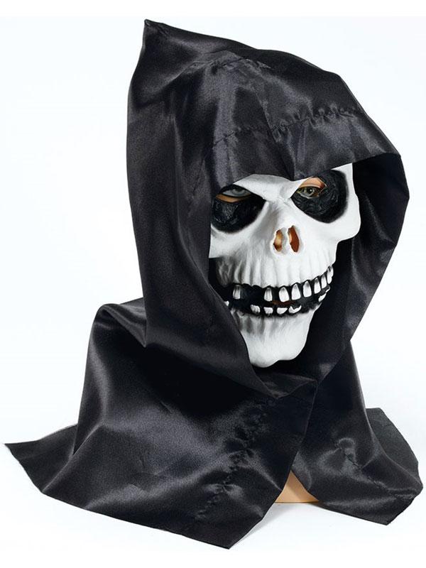 Skull Face Mask And Hood Latex Rubber Horror Death Reaper Skeleton Halloween