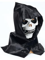 Skull Face Mask And Hood Latex Rubber Horror Death Reaper Skeleton Halloween