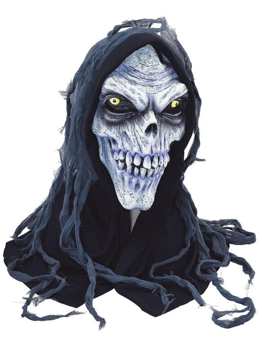 Hooded Zombie Corpse Ghoul Skull Skeleton Halloween Rubber Mask ...