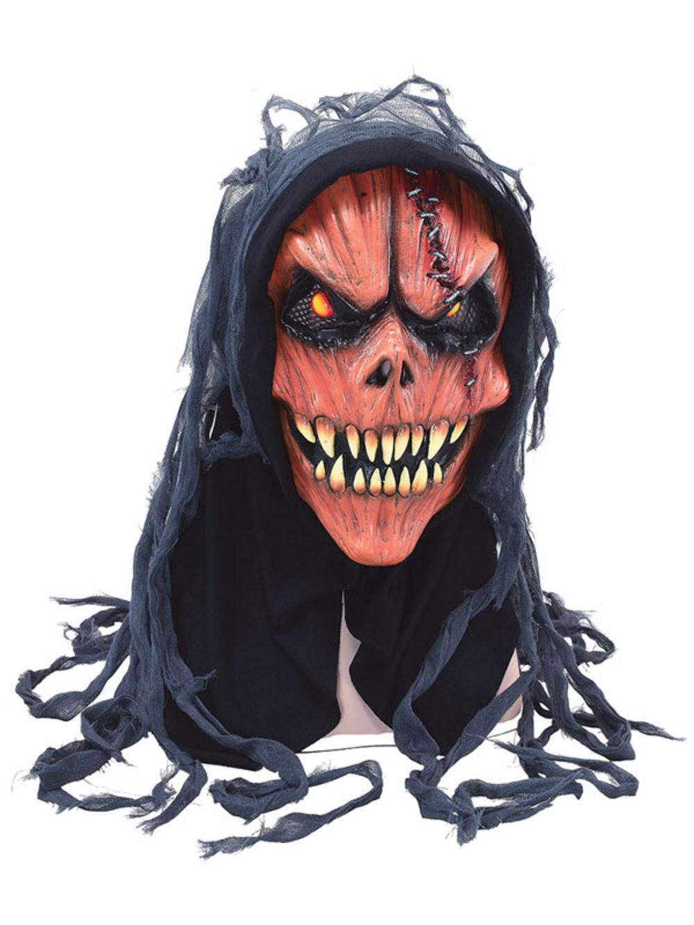Adult Hooded Evil Pumpkin Skull Half Mask Scary Halloween Horror ...