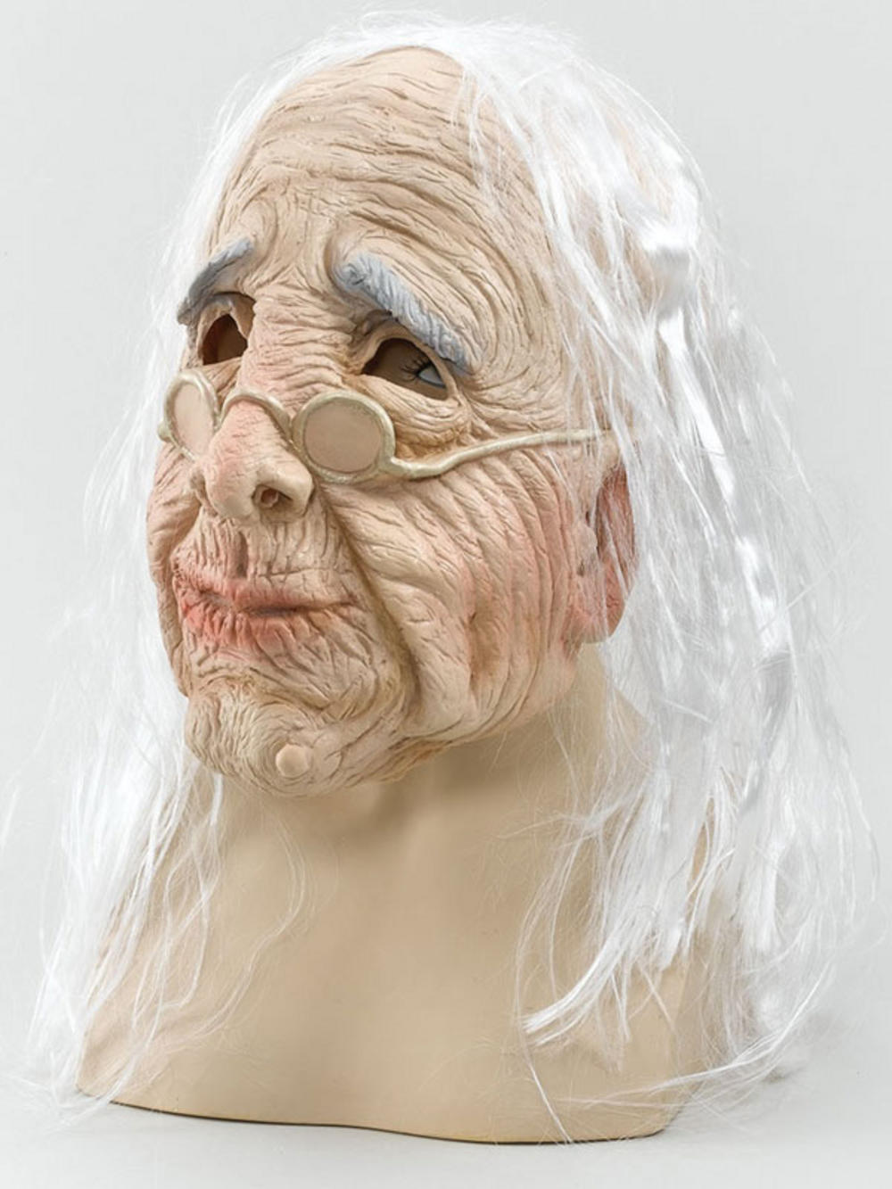 Adult Old Woman Overhead Rubber Adult Mask & White Hair Fancy ...