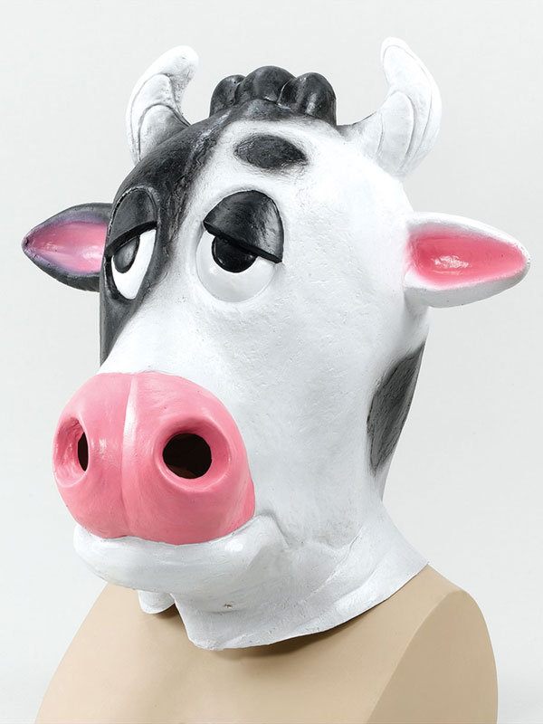 Milk Dairy Comical Cow Head Mask Rubber Latex Panto Fancy Dress Funny Prop
