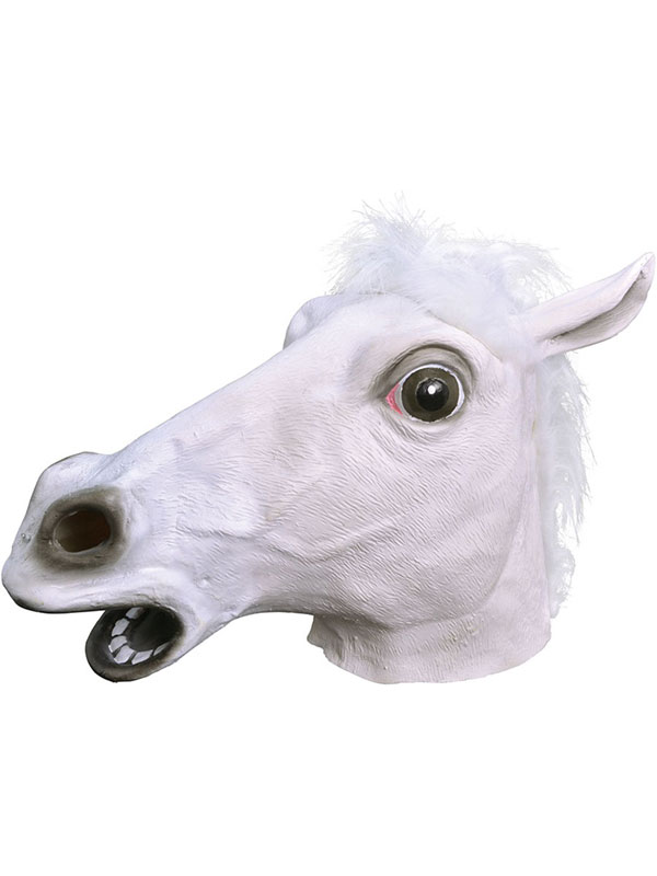 White Rubber Horse Head Mask Panto Fancy Dress Party Cosplay Halloween Adult