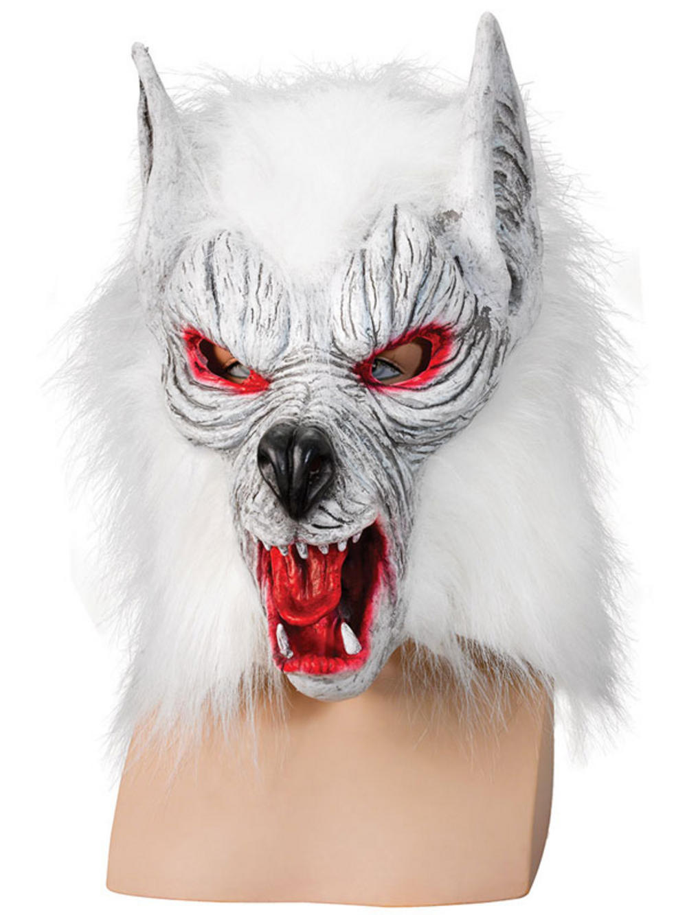 Adult Scary White Wolf Werewolf Zombie Latex Full Mask Halloween ...