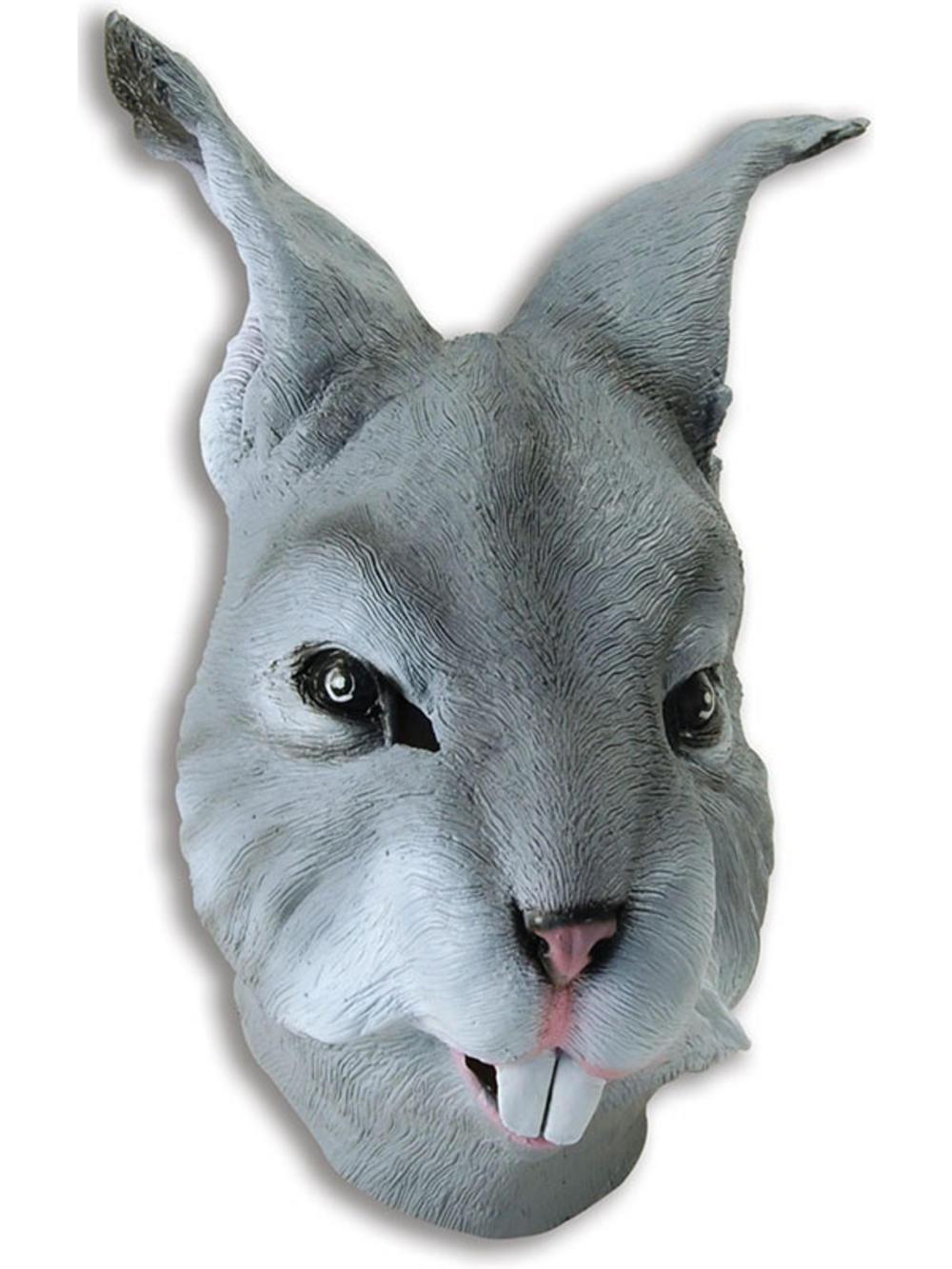 Grey Rabbit Head Mask Rubber Latex Fancy Dress Easter