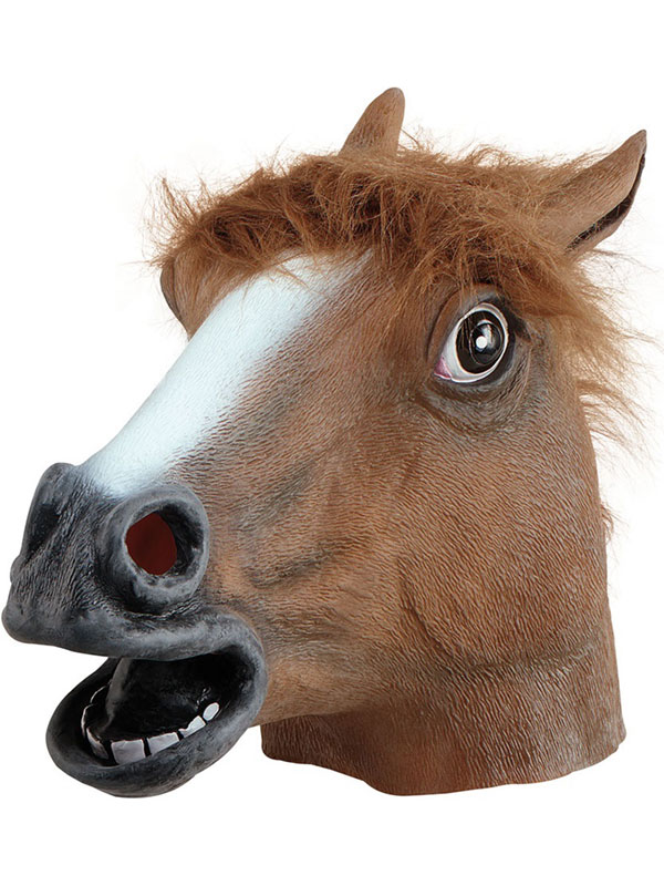 Brown Rubber Horse Head Mask Panto Fancy Dress Party Cosplay Halloween Adult