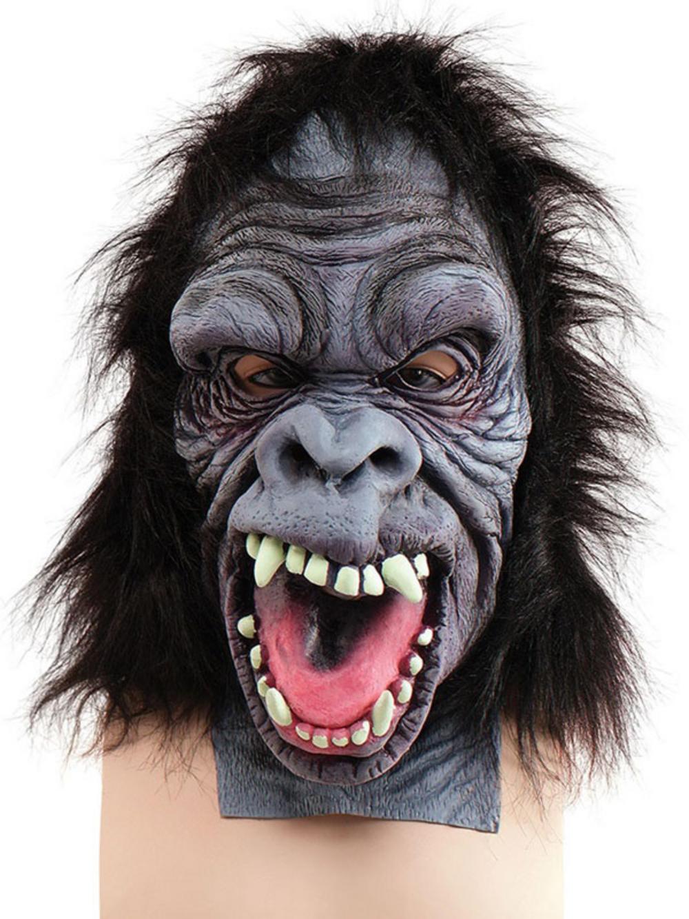 Wild Gorilla Full Overhead Fur Latex Rubber Monkey Fancy Dress ...