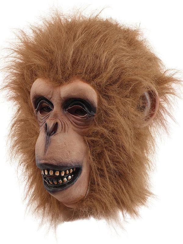 Adult Chimp Monkey Overhead Mask + Hair Mens Fancy Dress Latex Zoo Jungle Animal