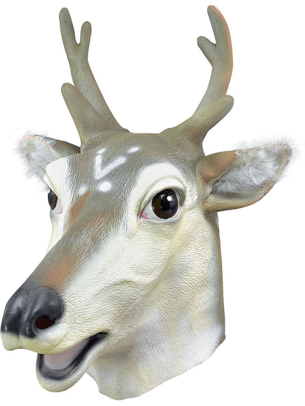 Stag Head Mask Rubber Latex Panto Fancy Dress Prop Party Reindeer Christmas Xmas
