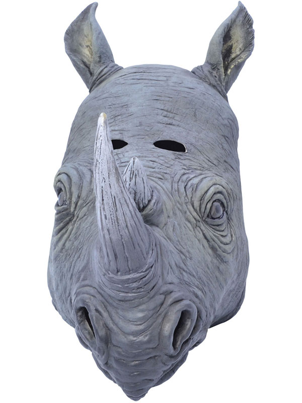 Adult Rhino Rhinoceros Animal Fancy Dress Rubber Deluxe Mask New Safari Africa