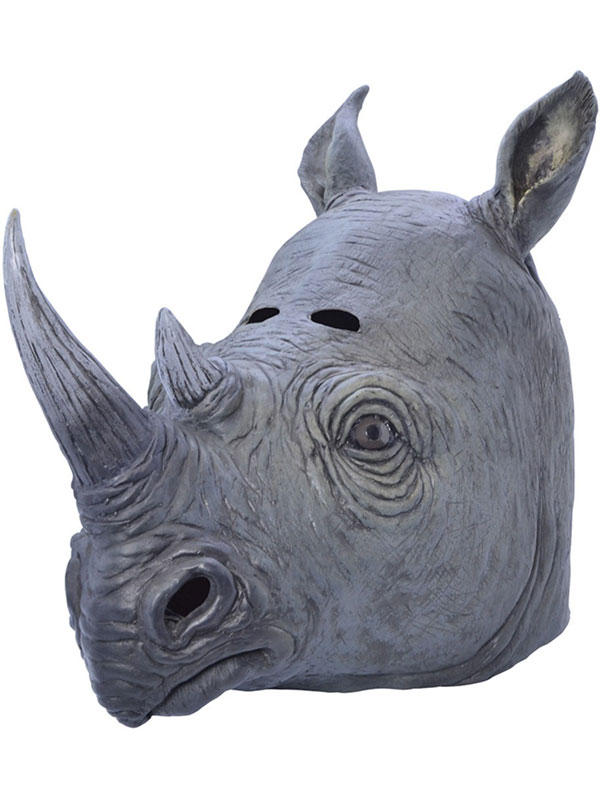 Adult Rhino Rhinoceros Animal Fancy Dress Rubber Deluxe Mask New Safari Africa Thumbnail 2