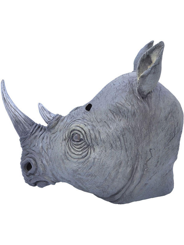 Adult Rhino Rhinoceros Animal Fancy Dress Rubber Deluxe Mask New Safari Africa Thumbnail 3