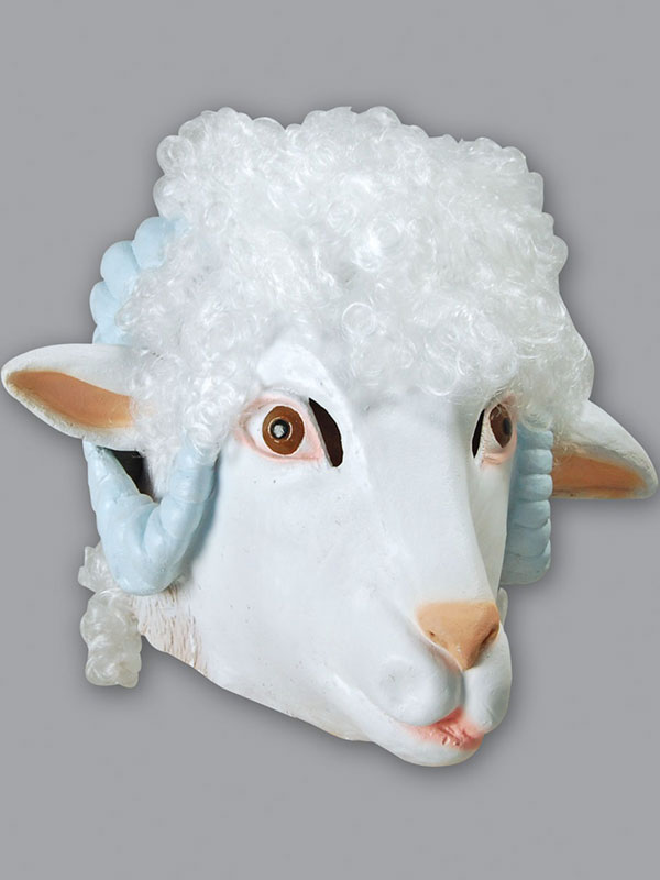 Sheep Head Mask Rubber Latex Ram Fancy Dress Xmas Christmas Nativity Farm Animal