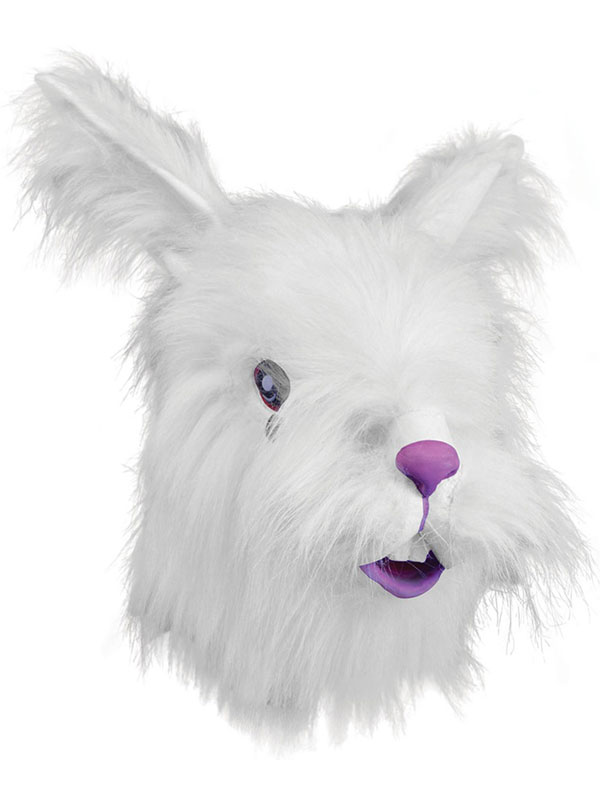 Furry White Rabbit Head Mask Rubber Latex Deluxe Fancy Dress Easter Bunny