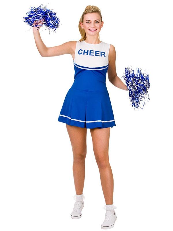 Cheerleader Fancy Dress Costume Womens Ladies High School Blue Uniform Pom Poms