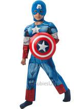 Kids Muscle Chest Marvel Captain America Fancy Dress Padded Costume & Shield