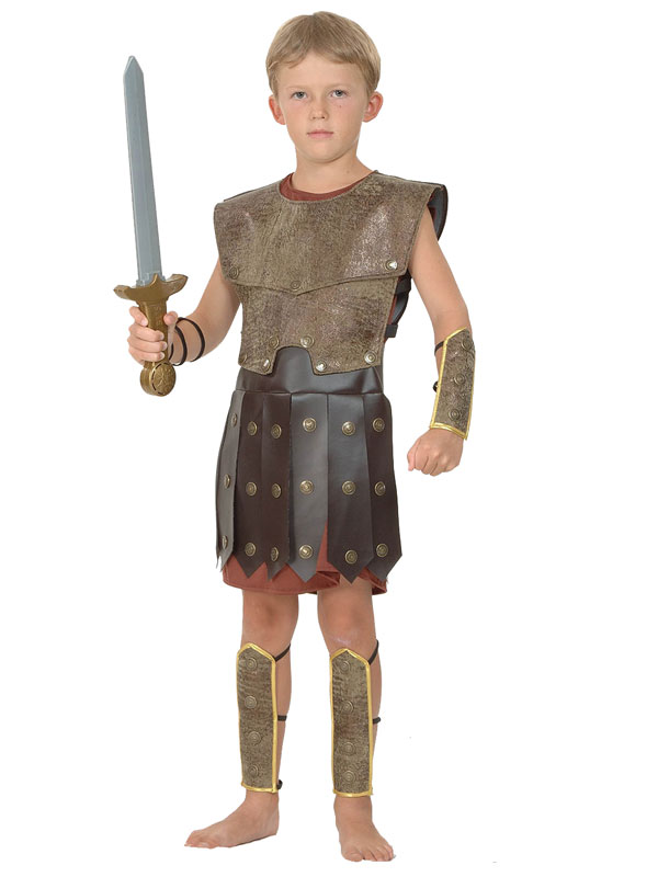 View Item Child Warrior Outfit New Fancy Dress Costume Roman Centurion Soldier Kids Boys