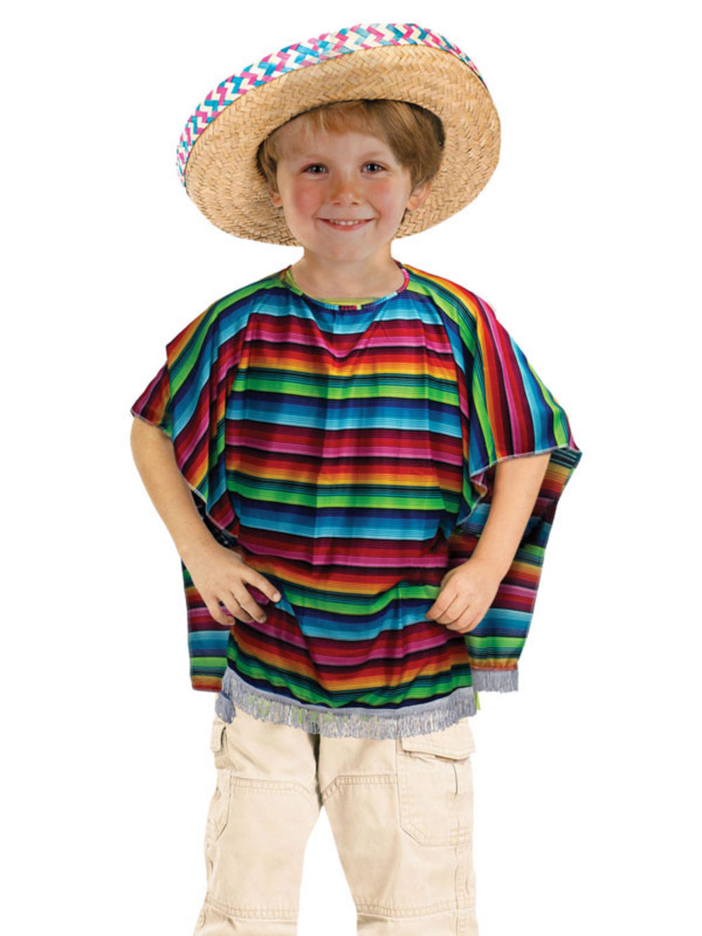 Child Mexican Poncho Wild Western Bandit Costume Boys