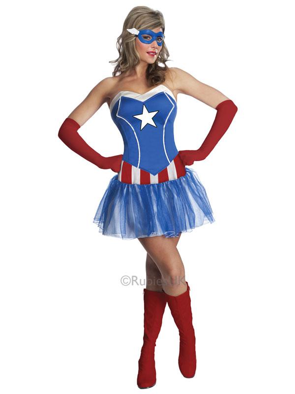 captain america kost m damen sexy superheld dream weiblich kleid ebay. Black Bedroom Furniture Sets. Home Design Ideas