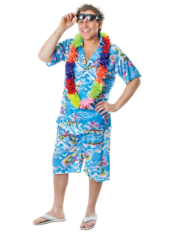 Mens Hawaiian Costume Stag Retro Beach Luau Tropical Aloha Fancy Dress Outfit | eBay