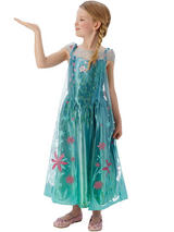 Child Princess Frozen Fever Deluxe Elsa Snow Queen Fancy Dress Costume