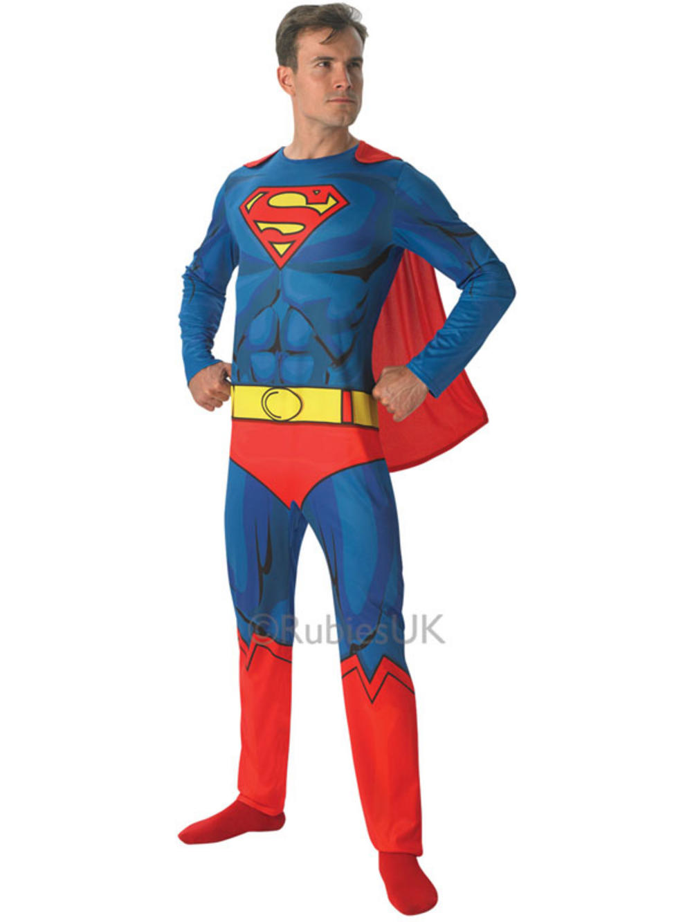 Officially licensed Deluxe Superman costume from Warner Bros. This fancy dress contains blue padded jumpsuit with all important red cape, red boot covers and Superman .