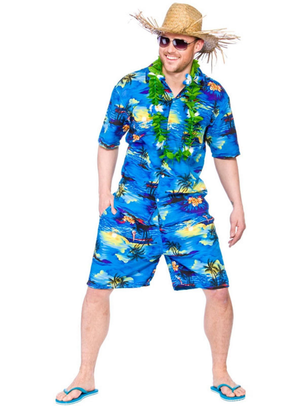 Mens Hawaiian Beach Party Blue Palm Fancy Dress Costume Luau Tropical Aloha Buy Online